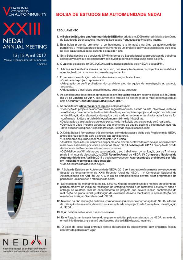 Bolsa de Estudos em Autoimunidade NEDAI 2017