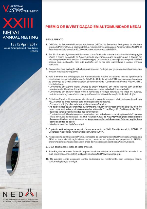 Prémio de Investigação em Autoimunidade NEDAI 2017